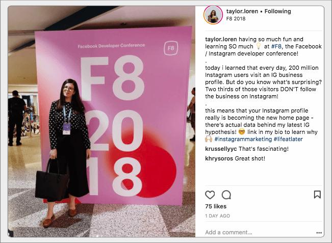 Taylor Loren at F8 - FAMA Marketing Digital