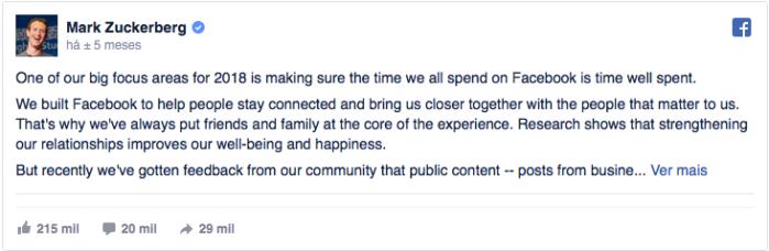 Post de Mark Zuckerberg sobre o Facebook - FAMA Marketing Digital